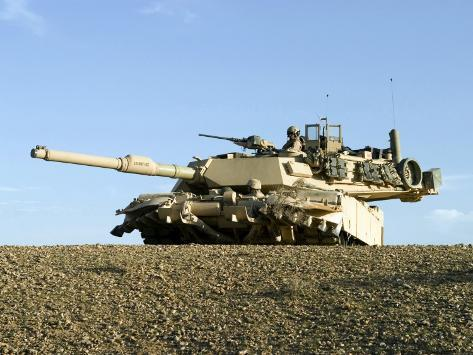 US Marines Provide Security in an M1A1 Abrams Tank Photographic Print