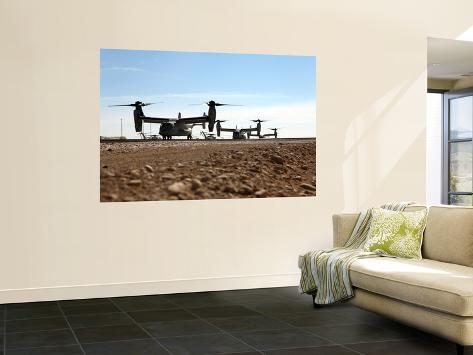 V-22 Osprey Tiltrotor Aircraft Arrive at Camp Bastion, Afghanistan Wall Mural