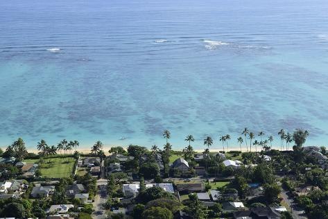 View Overlooking the Coastline of Lanikai Beach, Oahu, Hawaii Photographic Print