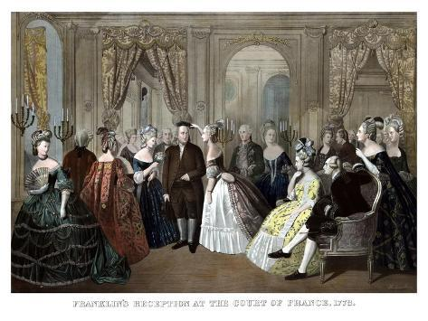 Vintage American History Print of Benjamin Franklin's Reception by the French Court Photographic Print
