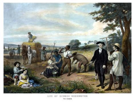 Vintage American History Print of George Washington On His Farm Photographic Print
