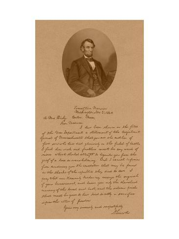 Vintage American History Print of President Abraham Lincoln And His Letter To Mrs. Bixby Photographic Print