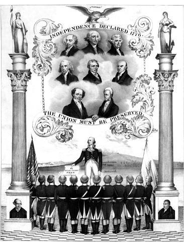 Vintage American History Print of the First Eight Presidents of the United States Photographic Print