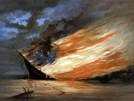 Vintage Civil War Painting of a Warship Burning in a Calm Sea Photographic Print
