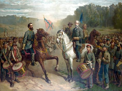 Vintage Civil War Painting of Gernal Lee And Jackson On Horseback Photographic Print