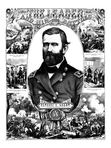 Vintage Civil War Poster of General Ulysses S. Grant Wearing His Military Uniform Photographic Print