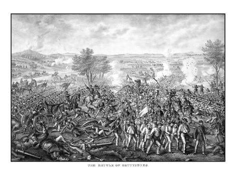 Vintage Civil War Print Featuring the Battle of Gettysburg Photographic Print