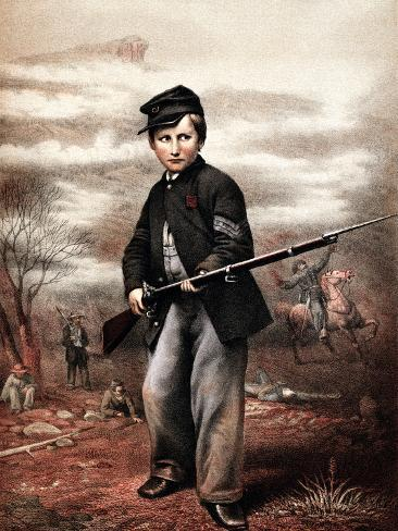 Vintage Civil War Print of a Union Drummer Boy Holding a Rifle On Battlefield Photographic Print