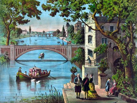 Vintage Print of Ben Franklin Being Greeted Along the Bank of a River in France Photographic Print