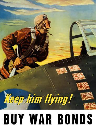 Vintage World War II Poster of a Fighter Pilot Climbing Into His Airplane Photographic Print