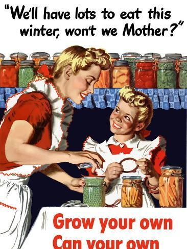 Vintage World War II Poster of a Mother And Daughter Canning Vegetables Photographic Print
