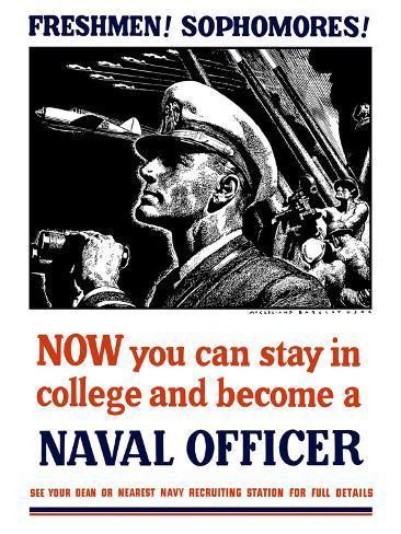 Vintage World War II Poster of a U.S. Naval Officer Holding Binoculars Photographic Print