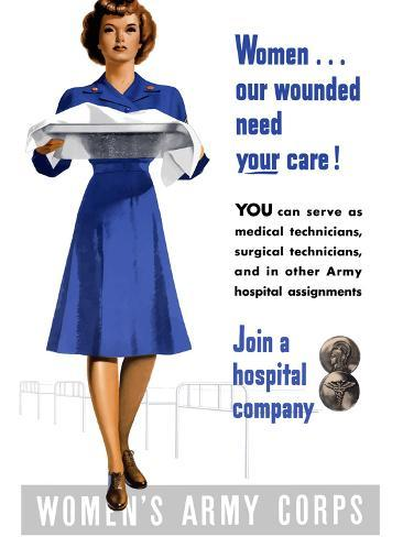 Vintage World War II Poster of An Army Corps Nurse Working in a Hospital Photographic Print