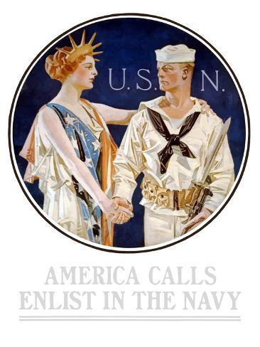 Vintage World War II Poster of Liberty Shaking Hands with a Sailor Photographic Print