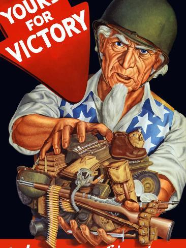 Vintage World War II Poster of Uncle Sam Wearing a Helmet And Holding Supplies Photographic Print