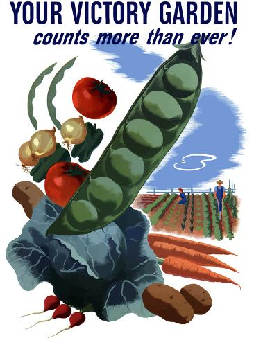 Vintage World War II Poster of Vegetables And a Garden Photographic Print