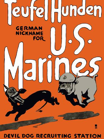 Vintage World War One Poster of a Marine Corps Bulldog Chasing a German Dachshund Photographic Print