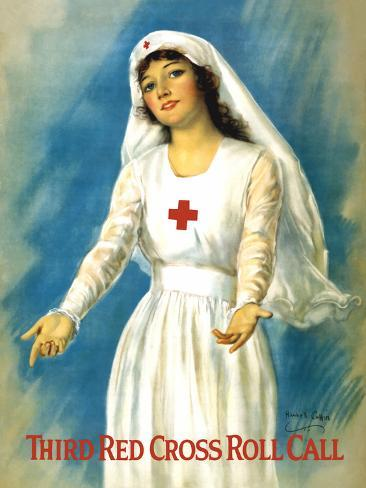 Vintage World War One Poster of a Red Cross Nurse Holding Open Her Arms Photographic Print
