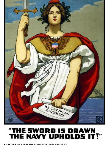 Vintage World War One Poster of Lady Liberty Holding a Sword And a Scroll Photographic Print