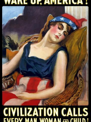 Vintage World War One Poster of Lady Liberty Sleeping in a Chair Photographic Print
