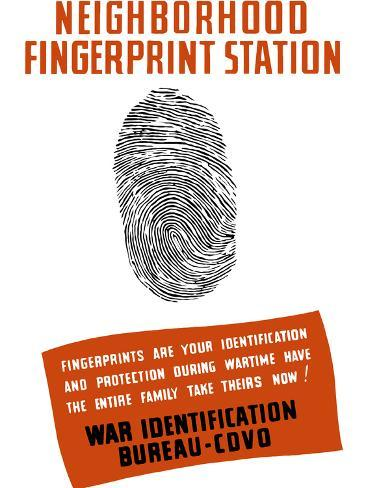 Vintage WPA Poster of a Fingerprint Photographic Print
