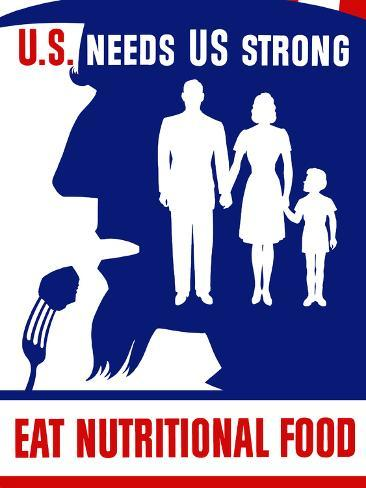 Vintage WPA Poster of Uncle Sam Taking a Bite of Food Photographic Print