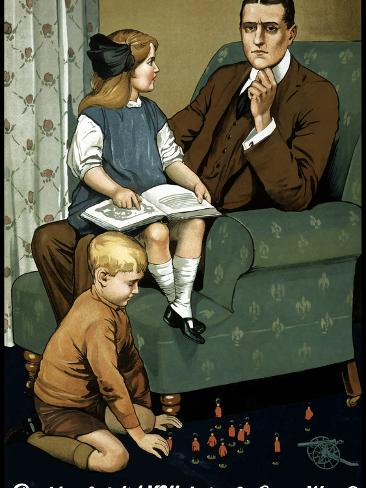 World War I Poster of a Little Girl Sitting On Her Father's Lap And a Boy Playing with Toys Photographic Print