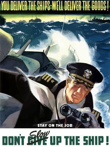World War II Poster of a Navy Commander with Binoculars Aboard a Battleship Photographic Print
