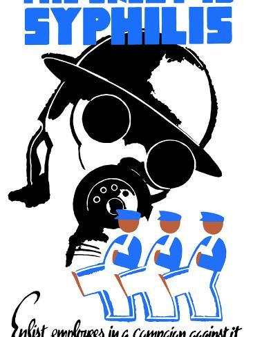 World War II Poster of a Soldier Wearing a Gas Mask And Men in Overalls Marching Photographic Print