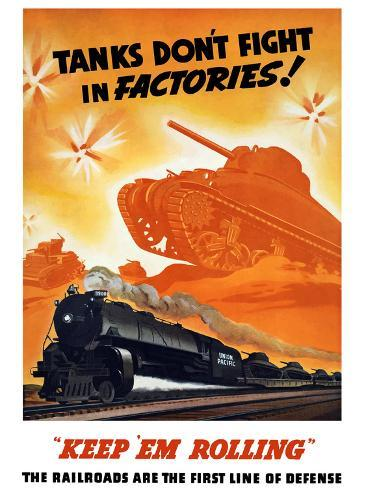 World War II Poster of Tanks Rolling Into Battle And a Locomotive in Motion Photographic Print