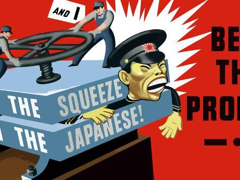 World War II Poster of Two Men Turning the Wheel of a Vice, Squeezing a Japanese Soldier Photographic Print