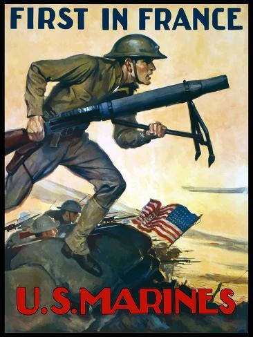 World War One Poster of Marines Charging Into Battle Behind the American Flag Photographic Print