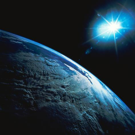Planet Earth and Star from Space Photographic Print