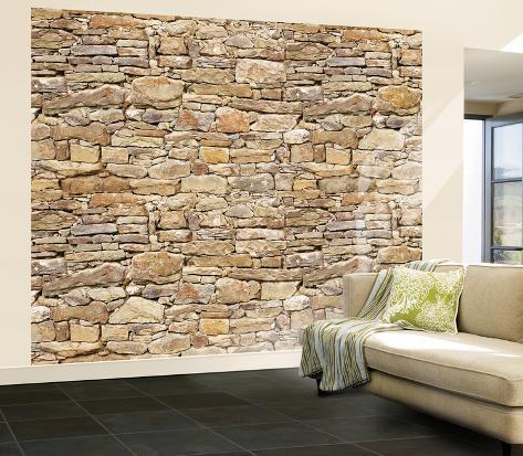 オールポスターズの stone wall mural 壁紙ミューラル
