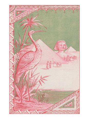 Stork with Egyptian Themes Art Print