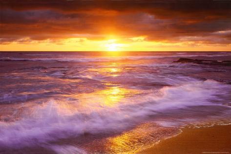 Strand vid Sunset Cliffs, San Diego, Kalifornien Poster