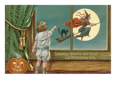 Strange Sights Are Seen on Halloween, Witch from Window Art Print