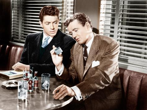 STRANGERS ON A TRAIN, from left: Farley Granger, Robert Walker, 1951 Foto