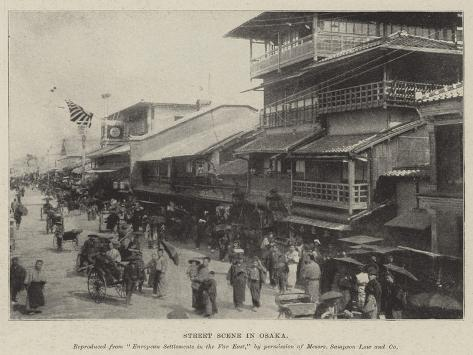 Street Scene in Osaka Giclee Print