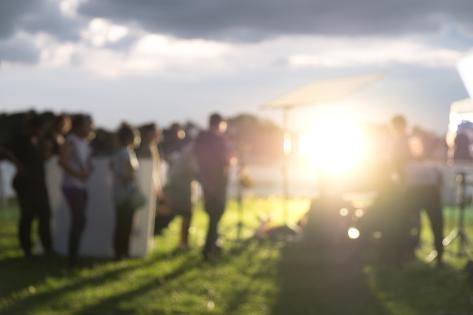Blurred Busy Outdoor Filming Production Crew Team Photographic Print