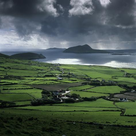 Blasket Sound to Blasket Islands and Slea Head, Dingle Peninsula, Munster, Republic of Ireland Photographic Print