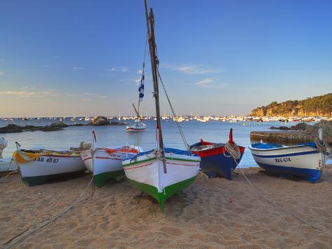 Fishing Boats at Dawn, Calella De Palafrugell, Costa Brava, Catalonia, Spain, Mediterranean, Europe Photographic Print