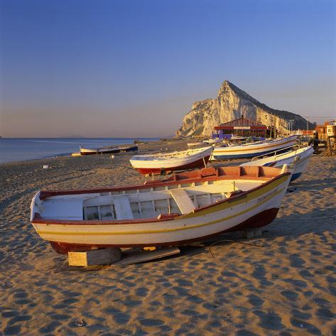 Gibraltar Viewed Along Beach, La Linea, Andalucia, Spain, Mediterranean, Europe Photographic Print