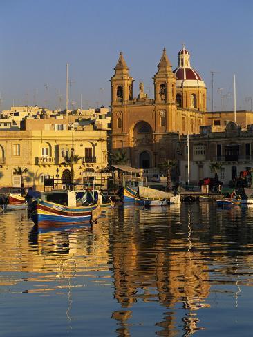 Harbour with Luzzu Fishing Boats and Marsaxlokk Parish Church at Sunrise, Marsaxlokk, Malta, Medite Photographic Print