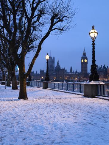 Houses Of Parliament And South Bank In Winter London