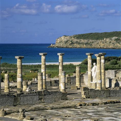 Roman Ruins with Statue of Emperor Trajan, Baelo Claudia, Near Tarifa, Andalucia, Spain, Europe Photographic Print
