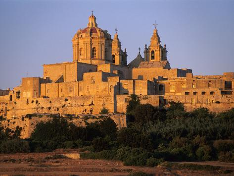 St. Paul's Cathedral and City Walls, Mdina, Malta, Mediterranean, Europe Photographic Print