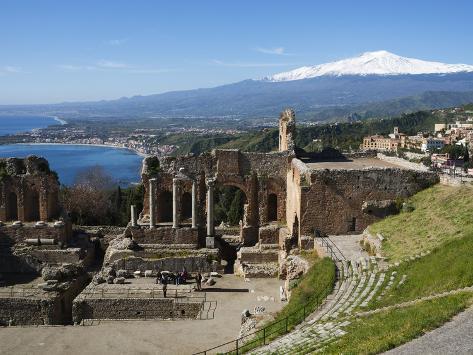 The Greek Amphitheatre and Mount Etna, Taormina, Sicily, Italy, Mediterranean, Europe Photographic Print