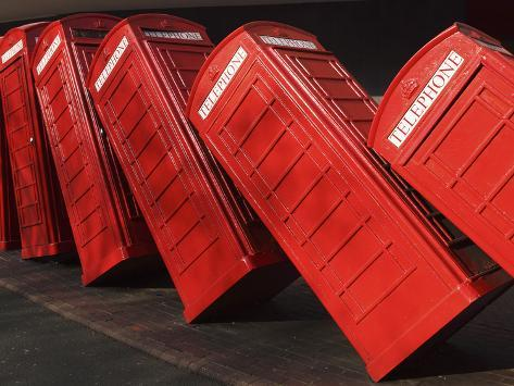 British Red K2 Telephone Boxes, David Mach's Out of Order Sculpture, at Kingston-Upon-Thames, a Sub Photographic Print