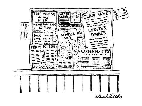 Bulletin board with various leaflets pinned up on it; they say 'The Summer… - New Yorker Cartoon Premium Giclee Print